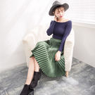 針織垂墬金屬感鬆緊腰百褶中長裙  (銀灰  黑  金黃  墨綠)四色售 (超長款停售)  11642005