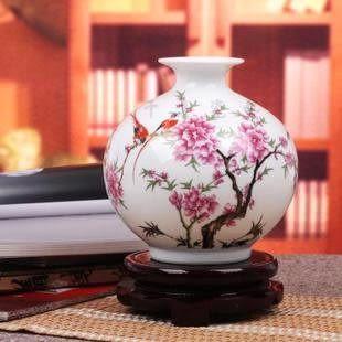 蘋果水點桃花 粉彩花瓶