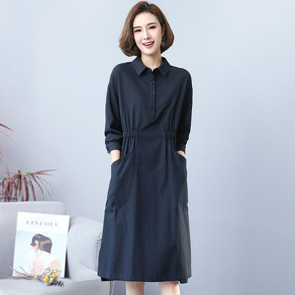 *ORead*韓版純色休閒寬鬆收腰連身裙(2色M~2XL)