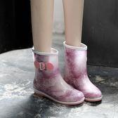 韓國時尚雨鞋女雨靴女士成人水鞋馬丁中筒膠鞋防滑防水靴短筒套鞋 【Pink Q】