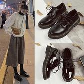 英倫風小皮鞋女秋季2021新款學生韓版百搭軟妹平底黑色日系單鞋女 米娜小鋪