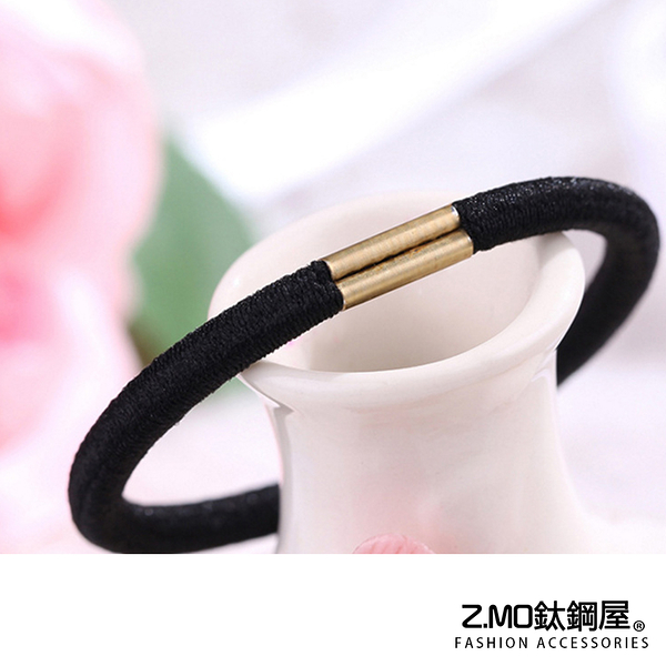 黑色髮圈 Z.MO鈦鋼屋 髮飾 髮繩 綁頭髮 簡約基本款 馬尾女孩 合金+彈力繩【HTA026】 單個價