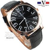 valentino coupeau范倫鐵諾 方圓數字時尚錶 玫瑰金電鍍 防水手錶 真皮 玫瑰金x黑 男錶 V61601B玫黑大