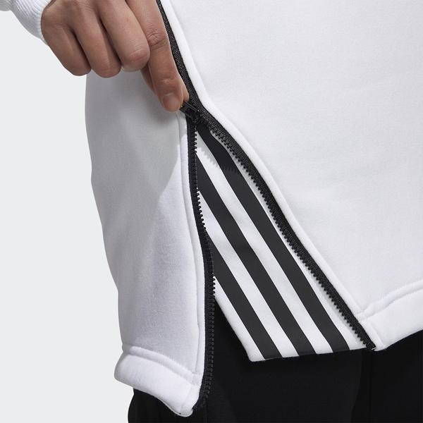ADIDAS STYLE 女裝 長袖 長版 休閒 寬鬆 側拉鍊 棉質 白【運動世界】GF7022
