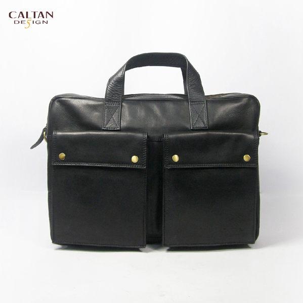 牛皮/公事包/斜背包/手提包【CALTAN】雙口袋手提斜背兩用包-5206bk