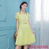 【RED HOUSE 蕾赫斯】花朵條紋蕾絲洋裝(檸檬黃)