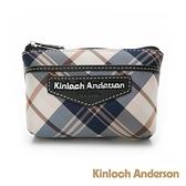 金安德森 英式學院 經典格紋前袋拉鍊零錢包-黑色
