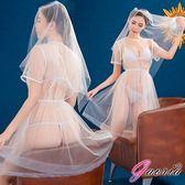 現貨供應贈跳蛋Gaoria新娘嫁衣浪漫白紗四件式新娘角色扮演服蕾絲性感情趣睡衣用品內衣褲丁字褲