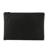 【BOTTEGA VENETA】編織羊皮大款手拿包/收納包(黑色) 522430 V001N 1000