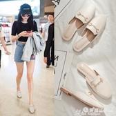 半拖鞋 拖鞋女2020年新款夏季外穿懶人包頭半拖鞋網紅百搭平底涼拖ins潮 愛麗絲