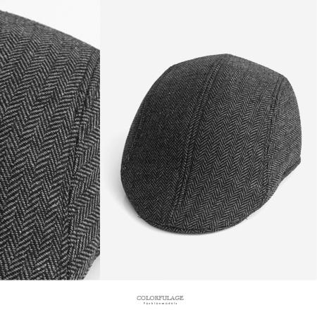 鴨舌帽 復古辮子紋路灰扁帽 NH246