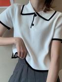 polo衫女 夏季新款韓版學生顯瘦POLO領短款上衣ins網紅短袖針織T恤女潮 瑪麗蘇