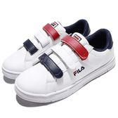 Fila 魔鬼氈 休閒鞋 白 藍 紅 小白鞋 韓系 女鞋 運動鞋 【PUMP306】 5C321S123