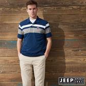 【JEEP】撞色拼接簡約短袖POLO衫 (藍)