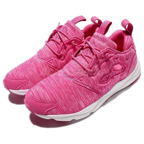 Reebok 休閒慢跑鞋 Furylite Jersey 粉紅 白 武士鞋 Pump 雪花 紋路 復古 女鞋【PUMP306】 AR3043