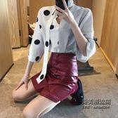 裝女套裝系帶大小波點拼接襯衣 排扣PU皮A字短裙兩件套 萬聖節服飾九折
