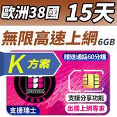 【TPHONE上網專家】歐洲全區K方案 38國 (包含 瑞士)15天無限上網 前面 6GB 支援高速 贈送通話60分鐘