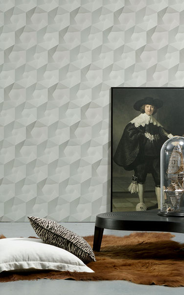 NLXL 灰色幾何形  3D 石紋 HEXA CERAMICS WALLPAPER BY STUDIO RODERICK VOS VOS-01