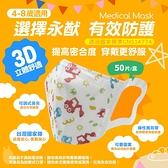 【現貨】永猷兒童醫療用口罩 50片/盒 兒童口罩 3D兒童口罩(S,4-8歲適用)