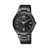 【Citizen星辰】PAIR對錶系列光動能時尚經典黑色簡約腕錶/FE6025-52E/台台灣總代理公司貨享兩年保固