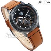 ALBA雅柏錶 廣告款 三眼多功能 計時碼錶 日期顯示窗 IP黑電鍍 真皮 男錶 AT3F39X1 VD53-X340J