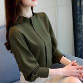 立領襯衫女寬鬆顯瘦長袖上衣正韓百搭大碼雪紡打底衫