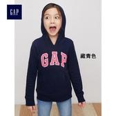 Gap女童 Logo基本款抓絨連帽長袖休閒上衣  849381-藏青色