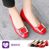 韓系時尚個性OL漆皮方形金屬造型高跟包鞋/4色/35-43碼 (RX1009-6216) iRurus 路絲時尚
