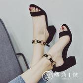 2018夏季新款時尚高跟鞋女粗跟百搭簡約一字扣黑色中空露趾涼鞋潮