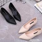 低跟鞋 低跟3cm小高跟鞋2021春秋新款百搭少女職業氣質淺口軟皮尖頭單鞋4 【618 狂歡】