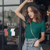 (現貨)PUFII-針織上衣 純色圓領直坑條針織上衣 4色 0823 現+預 秋【ZP15020】