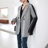 西裝外套女復古風大哥廓西服寬鬆格子拼接撞色西服1237T150-C紅粉佳人
