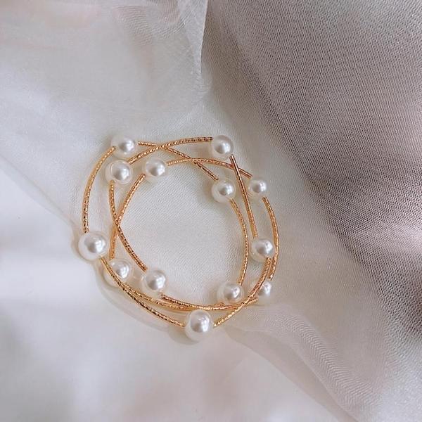 高級感多層交叉珍珠手鍊可作項鍊小清新迷人ins少女超仙氣質手鐲超級爆品