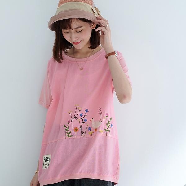 【慢。生活】輕文藝花草鳥型刺繡上衣 1186  FREE 粉紅色