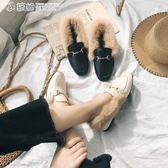 豆豆鞋 秋冬季毛毛鞋女單鞋加絨淺口平底粗跟兔毛豆豆瓢鞋子 繽紛創意家居