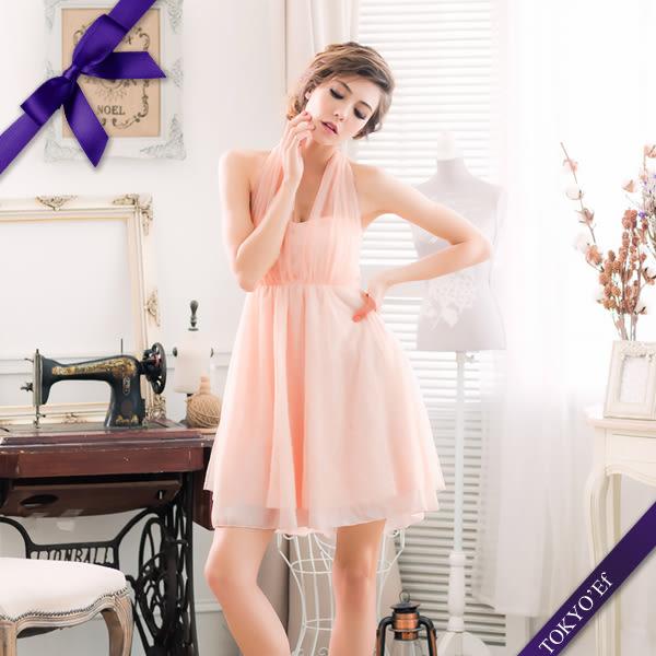 東京衣服 蘿莉公主 深V夢幻抓紗 繞頸蝴蝶結美背小禮服 粉橘