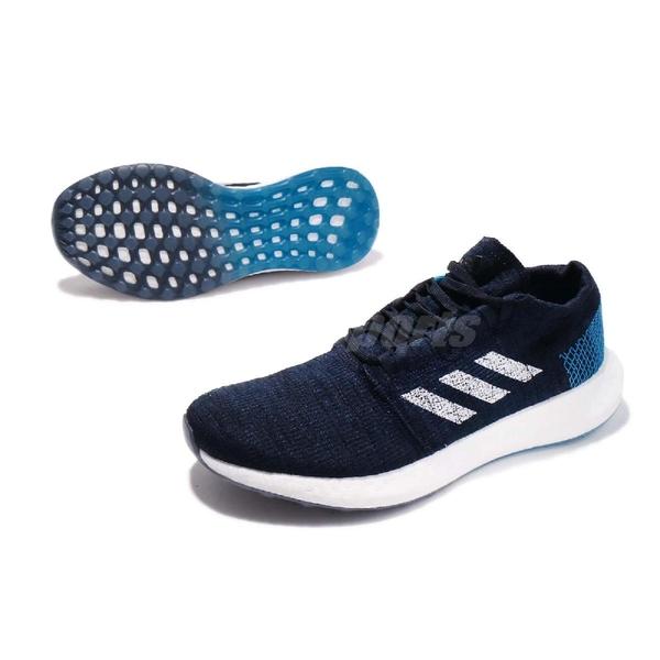adidas 慢跑鞋 PureBOOST GO 藍 白 編織鞋面 街頭路跑 男鞋 運動鞋【ACS】 EE4675