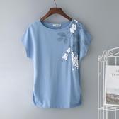 大碼白色短袖女t恤新款純棉寬鬆中年媽媽夏裝上衣半袖體桖潮 亞斯藍生活館