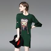 洋裝-中袖針織別針釘珠小狗女連身裙3色73of17【巴黎精品】
