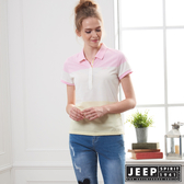 【JEEP】女裝 拼接造型短袖POLO衫-粉