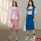 現貨-MIUSTAR 三件式!棉質披肩+卡通字膠印上衣+開衩彈性直筒裙(共2色)【NJ1013】