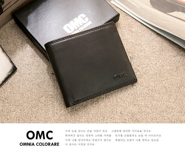 OMC - 韓系柔軟牛皮款真皮5卡1照短夾