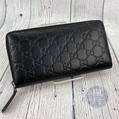 BRAND楓月 GUCCI 古馳 307987 黑色 GG紋 長夾 logo 壓紋 經典 小牛皮 皮夾  錢包 錢袋
