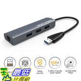 [8美國直購] 集線器 USB 3.0 HUB with Gigabit Ethernet ,3 Port With RJ45 LAN Network Adapter for PC