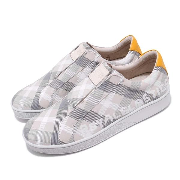 Royal Elastics 休閒鞋 Bishop Checked 白 灰 格紋 無鞋帶設計 橡膠大底 男鞋【ACS】 01791088