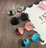 太陽眼鏡復古金屬鏤空圓形墨鏡粉色原宿大框圓臉潮男眼鏡反光太陽鏡女 小明同學