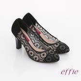 effie 奢華美型 絨面羊皮拼接鏤空蕾絲高跟鞋 黑