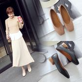丁果、大尺碼女鞋34-46►韓版優雅方跟淺口鞋方頭低跟鞋子通勤鞋*4色