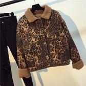 新款韓版寬松休閑翻領長袖復古羊羔毛豹紋牛仔夾克短外套