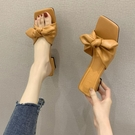 高跟拖鞋 仙女風蝴蝶結涼拖鞋女2021夏季新款高跟鞋粗跟外穿配裙子穿的拖鞋
